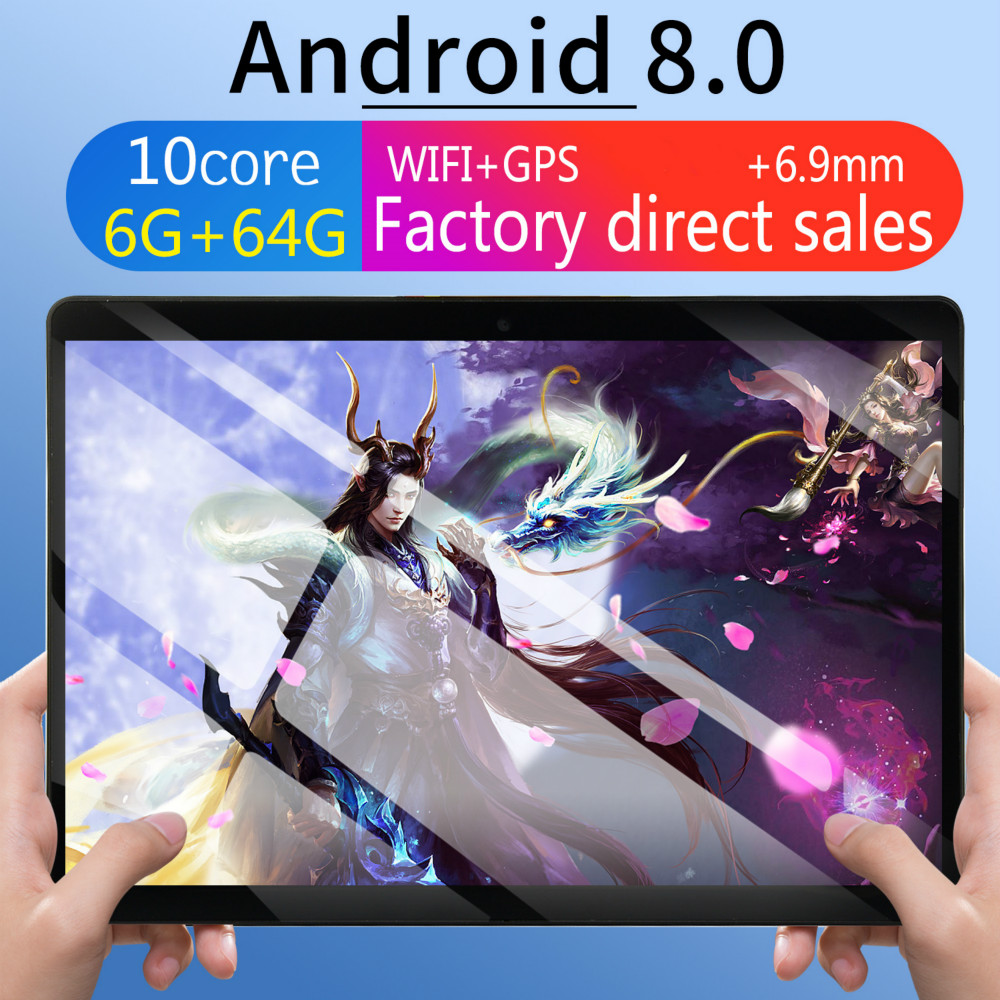 2020 6G+64G Android 8.0 WiFi Tablet PC Dual SIM Dual Camera Rear Bluetooth WiFi Call Phone Tablet