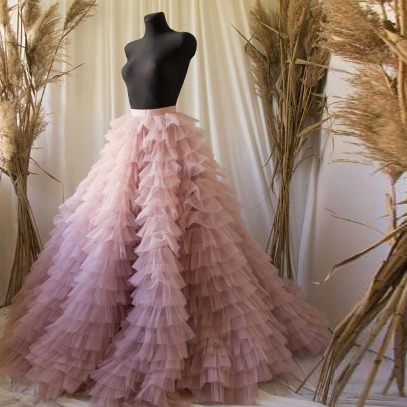 Real Image Tiered Ruched Long Bridal Tulle Skirts Ball Gown Sweet Pink High Waist Women Custom Tutu Skirt Faldas Saia Jupe