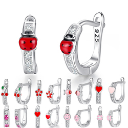 Детские серьги-кольца BELAWANG, маленькие серьги из серебра 925 пробы с розовой эмалью и прозрачными фианитами на весну