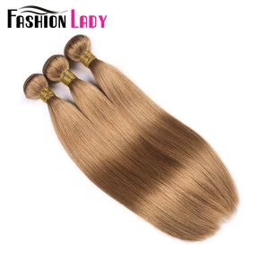 Image 2 - Fashion Lady Pre Colored Brazilian Straight Hair Extension Human Hair #27 Blonde Bundle Deals 3/4 Bundle Per Pack Non Remy