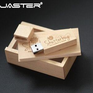 Image 1 - JASTER USB 2.0 customer LOGO wooden +box USB flash drive maple wood pendrive 4GB 16GB 32GB 64G U disk memory stick free shipping
