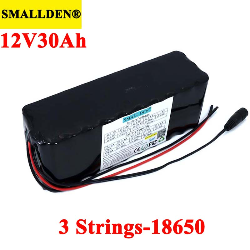 11.1v 12V 30Ah 18650 Lithium <font><b>Battery</b></font> <font><b>Pack</b></font> high capacity 30000mah 12.6V 500W 800W for Miner's Lamp <font><b>Batteries</b></font> with <font><b>3s</b></font> BMS image