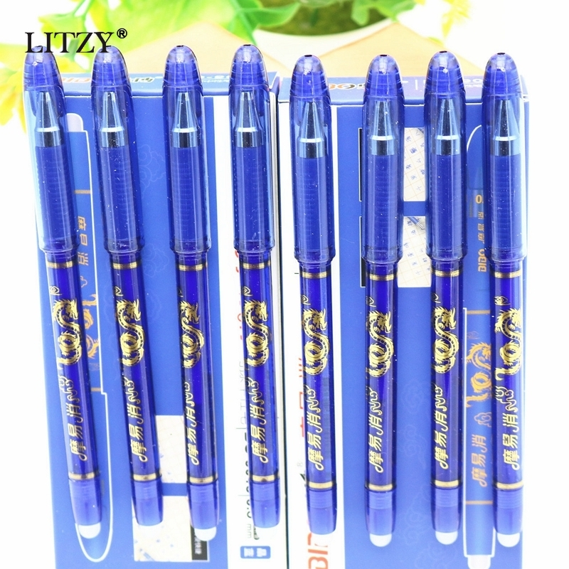 4/8Pcs/Set Erasable Gel Pen 0.5mm Erasable Pen Refill Rod Blue Ink Washable Handle For School Stationery Office Writing Tools