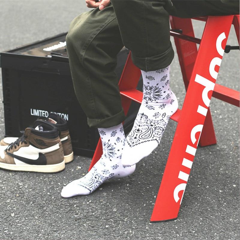 High Quality Harajuku Unisex Westcoast Style HipHop Socks Men's Cotton Skateboard Cashew Flower Casual Socks Man Sports Street