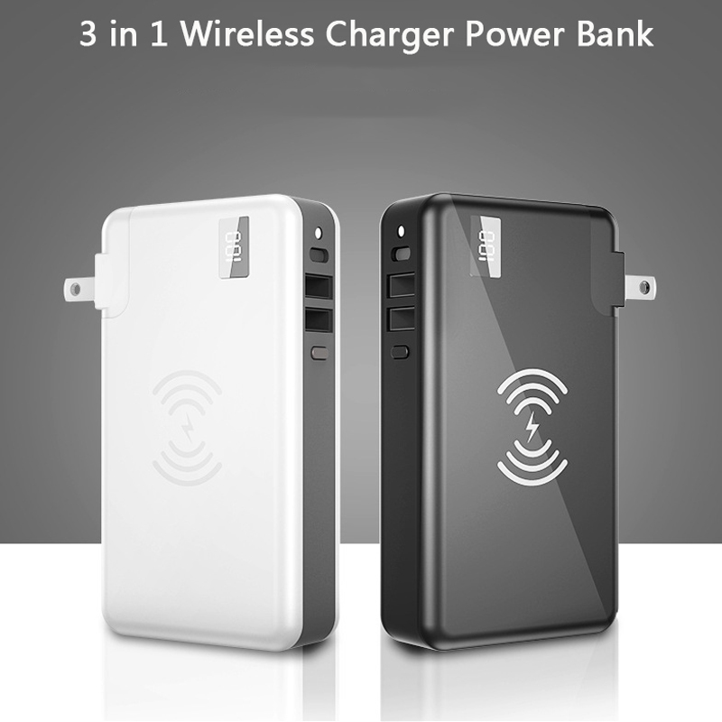 <font><b>3</b></font> in 1 Wireless Charger USB Type C <font><b>Power</b></font> <font><b>Bank</b></font> Real Capacity <font><b>10000mAh</b></font> Portable Powerbank Mobile Phone Charger for iPhone <font><b>Xiaomi</b></font> image