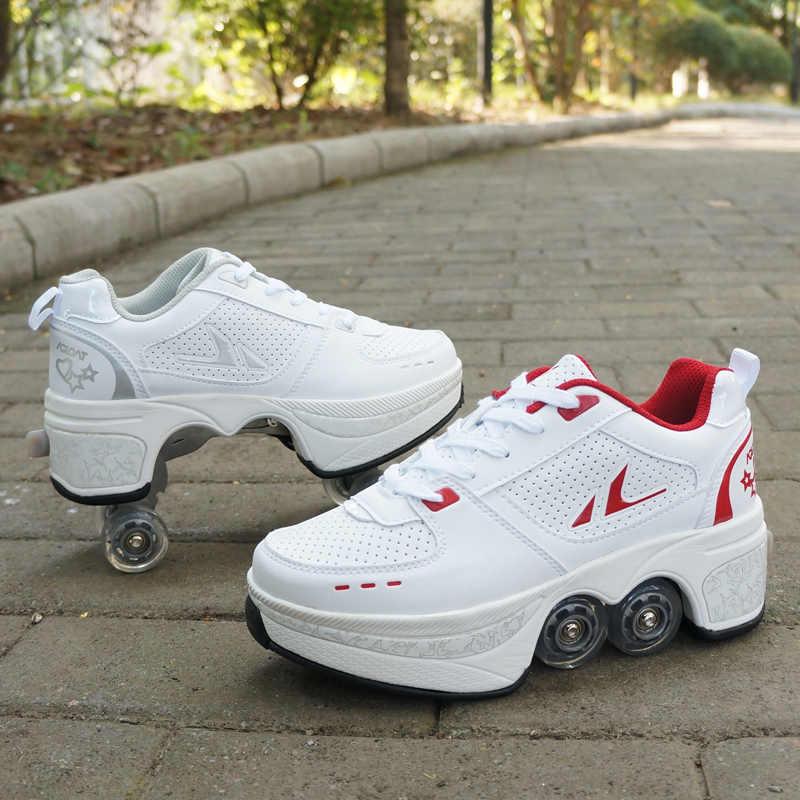 Hot Shoes Casual Sneakers Walk Skates Deform Wheel Skates For Adult Men Women Unisex Couple Childred Runaway Skates Four Wheeled Men S Vulcanize Shoes Aliexpress