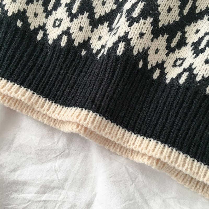 조끼 Womens Streetwear 기하학 풀오버 v-목 학교 학생 하라주쿠 빈티지 뜨개질 탄성 유행 세련된 새로운