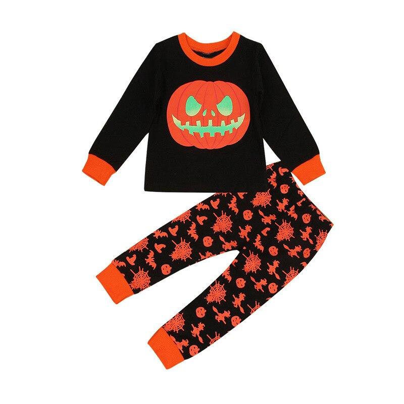 Amazon Hot Selling Halloween Pumpkin Boy Toddler Children Pure Cotton Pajamas Suit Manufacturers Direct Wholesale