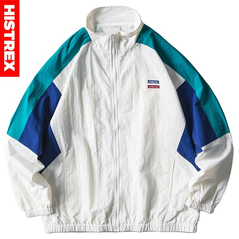 Mens Jacket Hip Hop Streetwear Retro Color Block Patchwork Windbreaker Jacket Autumn 2020 Casual Zipper Track Jacket Coat HipHop