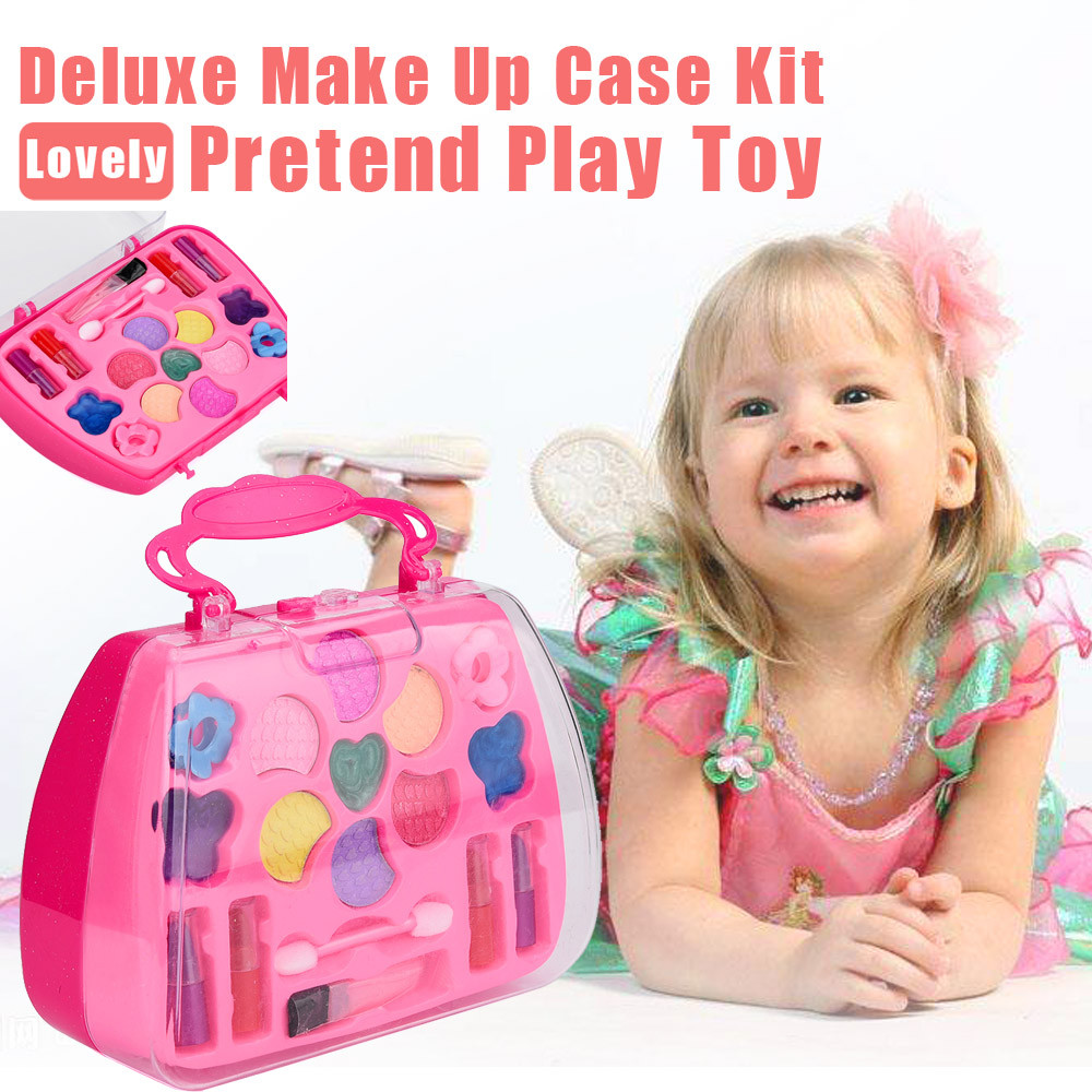 Girl's Pretend Play Toy Princess Girl's Pretend Play Toy Deluxe Makeup Palette Set NON TOXIC Kids Best Gift Children Make Up Set
