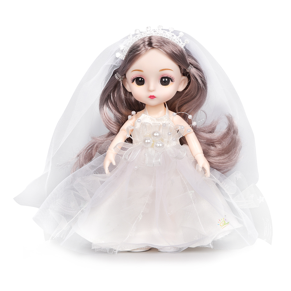 6pcs 5.9inch 13 Moveable Fashion bjd Boneca Dolls Joint body Ball Jointed Reborn Wedding Dress Make Up Dolls Toys Gift For Girls 8