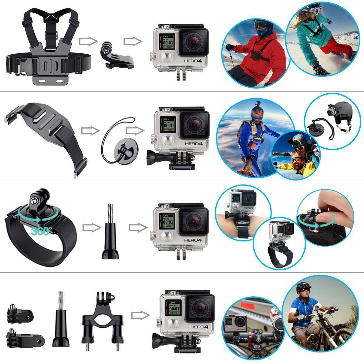 Promotion Camera Accessories for GoPro Hero 2018 Session/6 5 Hero 4 3+ SJ4000/5000/6000/AKASO/APEMAN/DBPOWER/And Sports