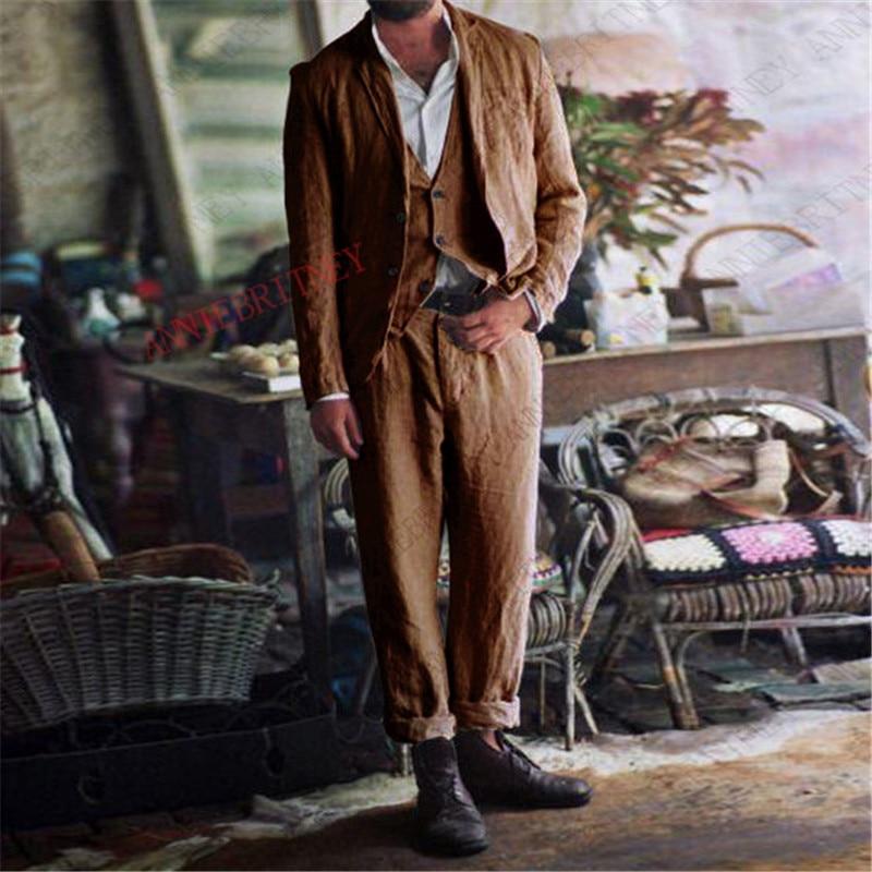2020 Summer Suit Men Slim Fit 3 Pieces Linen Beach Men Suits For Wedding Casual Blazer Dress Groom Tuxedo Jacket Vest Pants Set