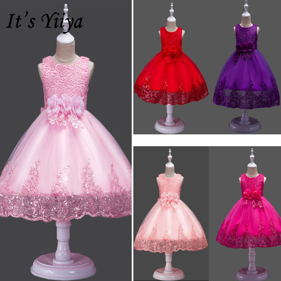 It's YiiYa Flower Girl Dress Bow Lace First Communion Dresses For Girls Elegant Sleeveless Sequined Christmas Ball Gowns 575