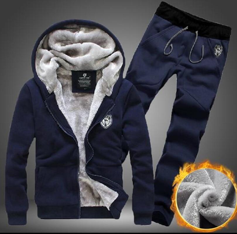 Sporting Suit Men Winter Track Suits Sets Men's Warm Hooded Sportswear Fleece Lined Thick Tracksuit 2PCS Jacket+Pants Set Male