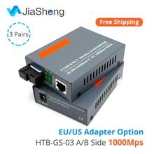 3 Pair HTB-GS-03 A&B Gigabit Fiber Optical Media Converter 1000Mbps Single Mode Single Fiber SC Port 20KM цена и фото