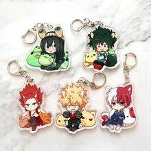 Anime meu herói academia chaveiro todoroki shouto cosplay dupla face transparente acrílico chaveiro bonito engraçado jóias fãs presente