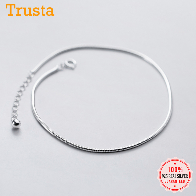 Trustdavis authentic 925 Sterling Silver Fashion Snake Chain Bracelet Anklets For Women Valentine's Day Birthday Jewelry DA1217