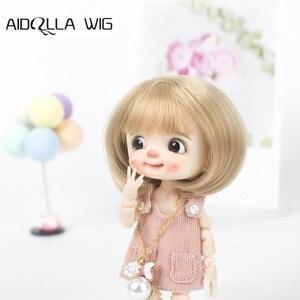 1/8 novo bjd & kurhn boneca peruca de fibra macia bebê nascido bob cabelo para 14-15cm de diâmetro boneca