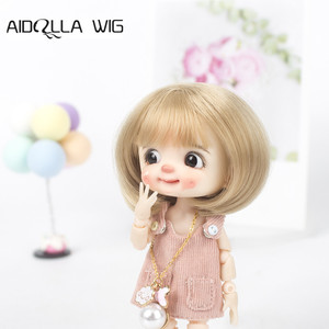 Aidolla 1/8 nouveau BJD & Kurhn poupée perruque fibre douce né bébé Bob cheveux pour 14-15cm de diamètre poupée
