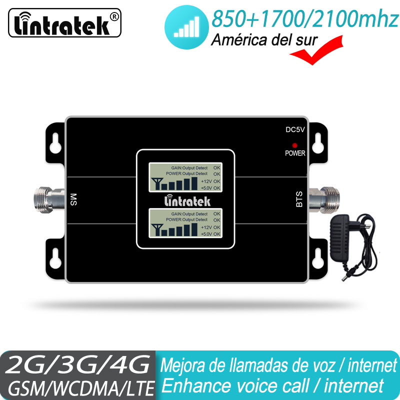 Cellular Signal Amplifier 2G 3G 4G 850 CDMA 1700/2100 AWS Cell Phone UMTS LTE Mobile Phone Signal Booster For South America #40