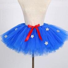 Dress Skirt Tutu Mini Blue Glitter Wear Mesh Gauze Parent-Child Independence-Day Star