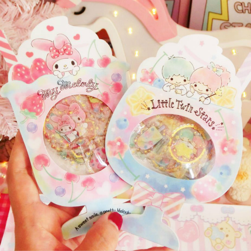 1 Pack Cute Little Twin Stars Gemini Decorative Stickers Summer Fruit Juice Cartoon Stickers Toys Gifts