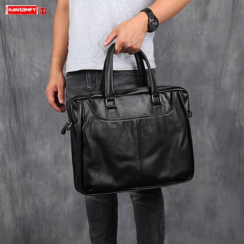 Soft Black Genuine Leather Men Handbag Men's Business Casual Laptop Bag Briefcase Head Layer Cowhide Shoulder Messenger Bags