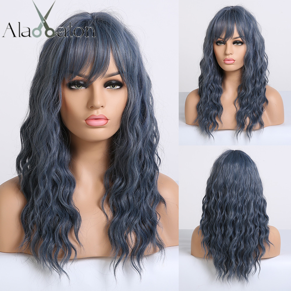 ALAN EATON Medium Wavy Synthetic Dark Blue Wigs for Black Women Afro Heat Resistant Natural Cosplay Hair Wigs with Side Bangs