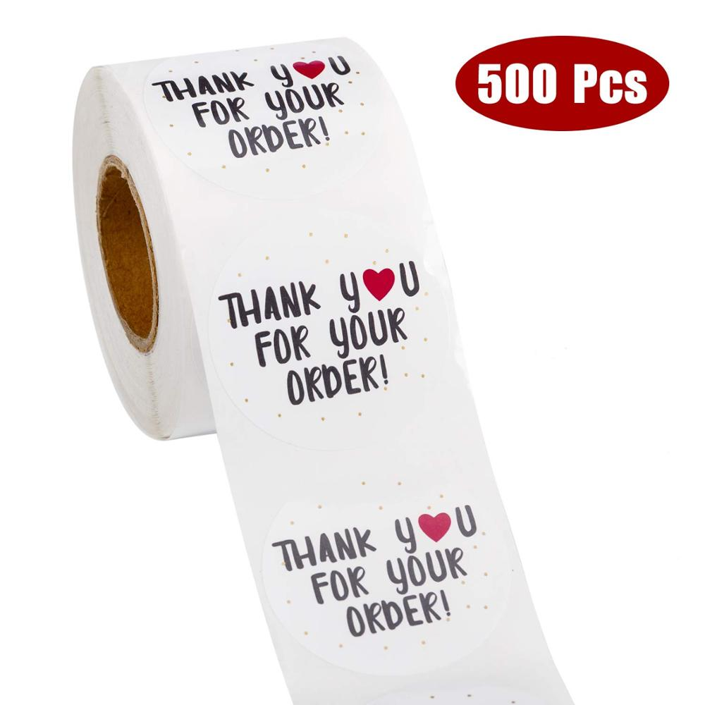 500pcs round thank you for your order sticker Heart Thanks for Shopping Small Shop Local Handmade sticker white labels sticker 3