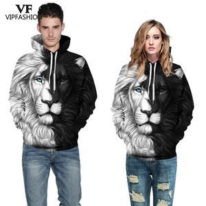 Image 2 - VIP FASNHION 2019 Winter Women Men Sweatshirt Streetwear Fashion Digital Tiger Printed Hooded 3D Hoodie Couple Cloth