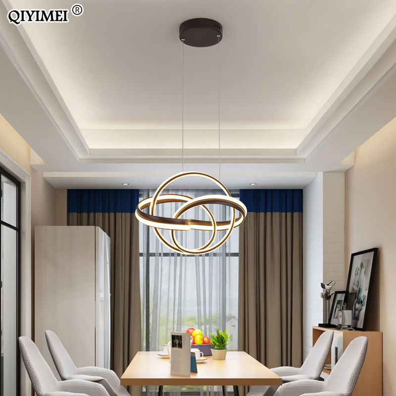 Gold Color New Style Pendant Light Round Chassis Hanging Lamps For Dining Room Living Room Fixture Dimmable Lustre Fixtures Dero