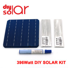 "396Watt Kit DIY Solar Panel 156X156mm Monocrystall Solarzelle 400 W 6X6 ""100 W Tabbing Draht Buswire Flux Stift 400 WATT Flexible(China)"