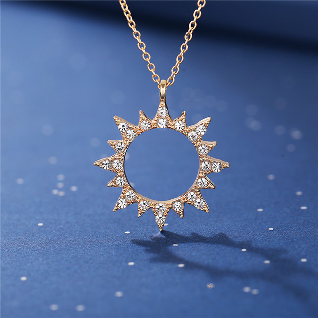 17KM Vintage Moon Star Sun Necklaces For Women Ladies Crystal Gold Pendant Necklace 2020 New Design Choker Fashion Jewelry Gift 4