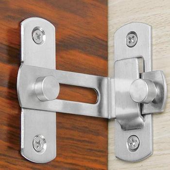 1 pestillo de ventana de acero inoxidable perno Botón de puerta hebilla de cierre de puerta antirrobo cerradura de la puerta deslizante hebilla de 90 grados