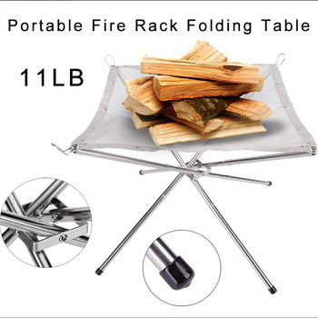 SALE Portable Fire Rack Folding Table Grill Stainless Steel Point Charcoal Stove Super Light Grid Heating Wood Camping