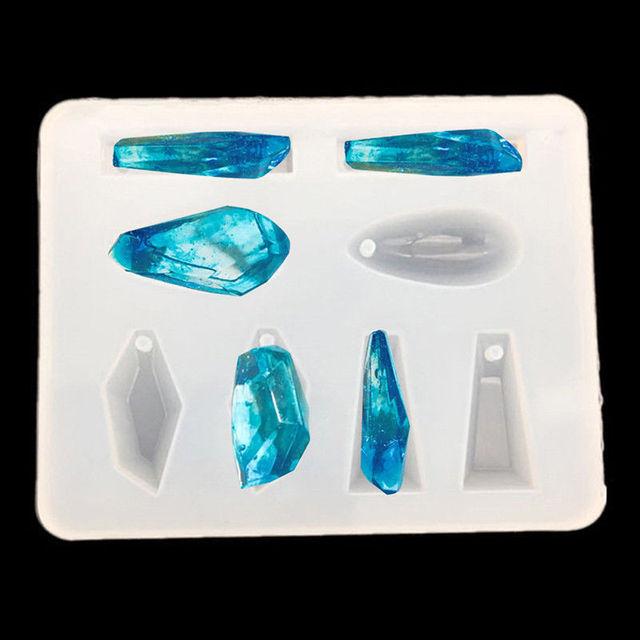 2x motifs géométriques Silicone moule résine bijoux collier