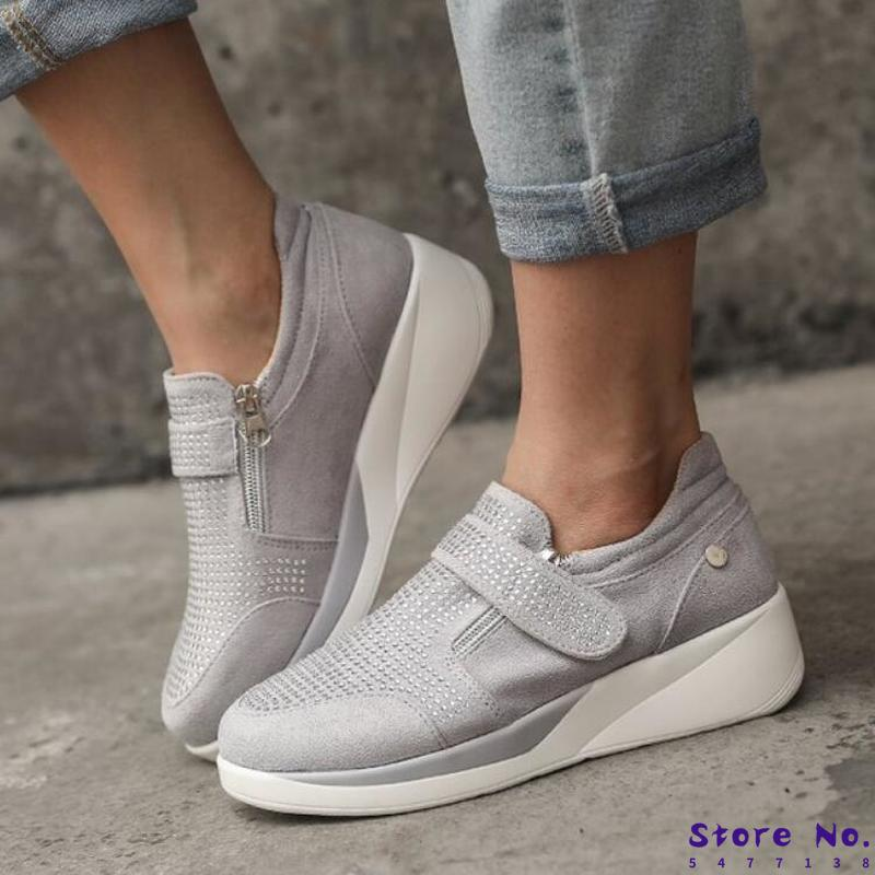 Women Summer Pumps Mid Heels Wedges Shoes Woman Shiny Crystal Deco Faux Suede Ankle Boots Casual Mujer Sapato Feminino H993