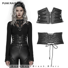 PUNK RAVE Women's Punk Front Zipper Faux Leather Underbust Handsome Corsets Goth Halloween Party Club Waist Corsets
