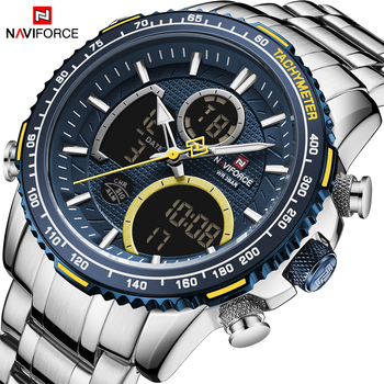 NAVIFORCE Men Watch Top Luxury Brand Big Dial Sport Watches Mens Chronograph Quartz Wristwatch Date Male Clock Relogio Masculino naviforce mens watches top brand luxury analog quartz watch men leather chronograph sports military watches relogio masculino