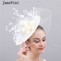 JaneVini New Elegant Women Hats Wedding Facinators Linen Mesh Birdcage Veil Ivory Princess Bride Lace Hat Accesorios De Novias