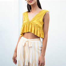 2019  Women Camisole Tank Sexy V-neck Chiffon Ruffle Backless Lady Short Shirt  Summer Casual Streetwear Lace Crop Top
