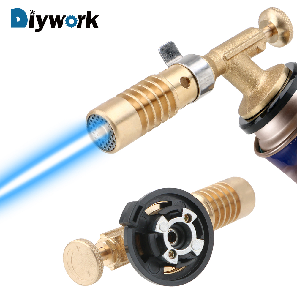 DIYWORK Butane Gas Welding Torch Heating Welding Cooking Blow Torch For Camping Hiking Copper Gun Torch Ignition Lighter
