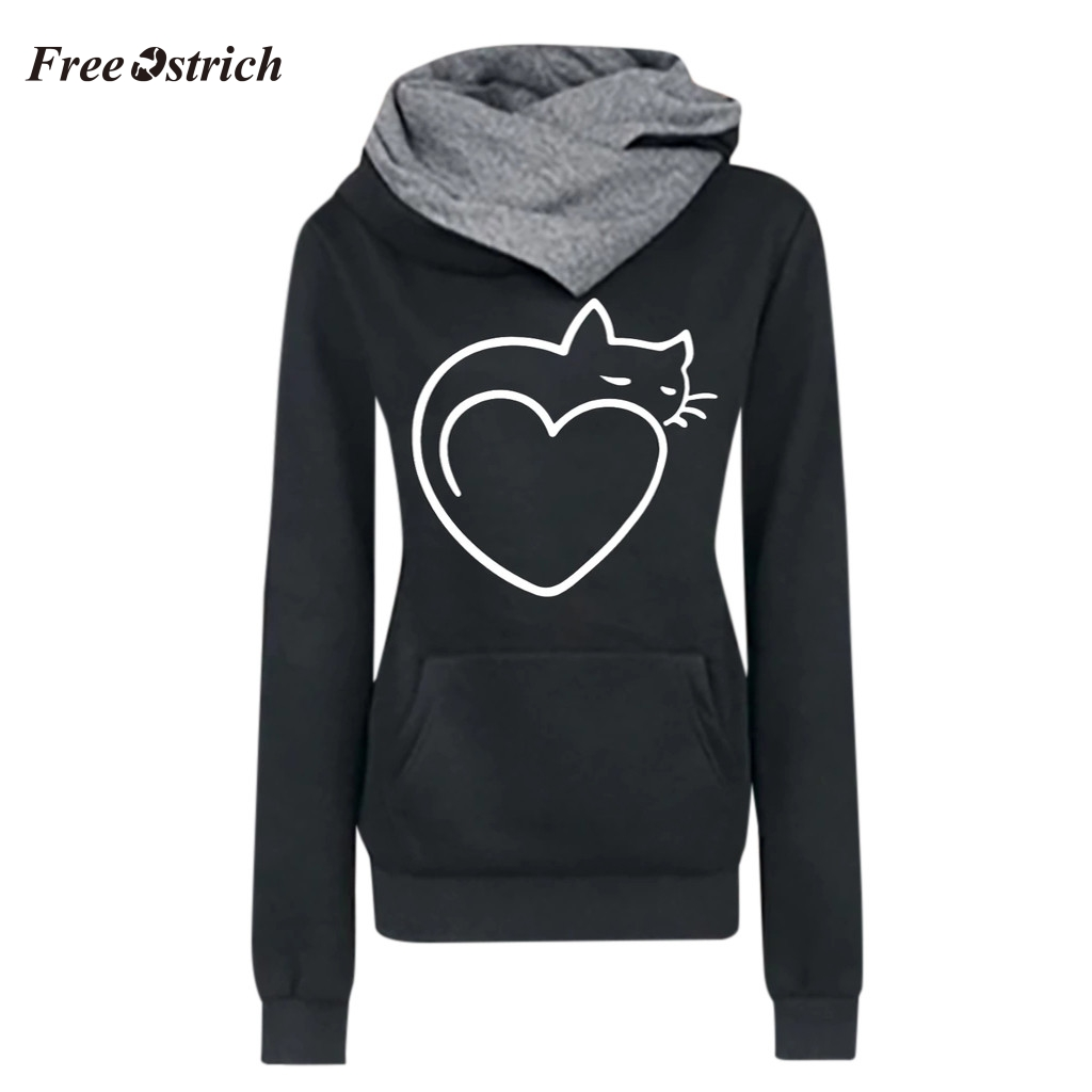Free Ostrich Women Casual Cat Printed Long Sleeve Pullover Shirts Tops Blouse Sweatshirt Tops With Pocket Hoodies Sweatshirts #S