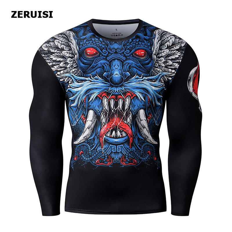Image 5 - New Arrival 3D Printed T shirts Men Compression Shirt Costume Long Sleeve Tops For Male Fitness Hip hop Clothing-in T-Shirts from Men's Clothing