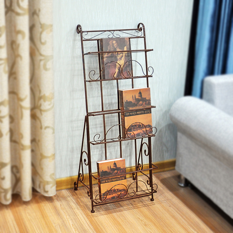 Magazine Shelf, Iron Art Newspaper Shelf, Book Shelf, Wall Mounted Children's Shelf, Display Shelf, Publicity Shelf