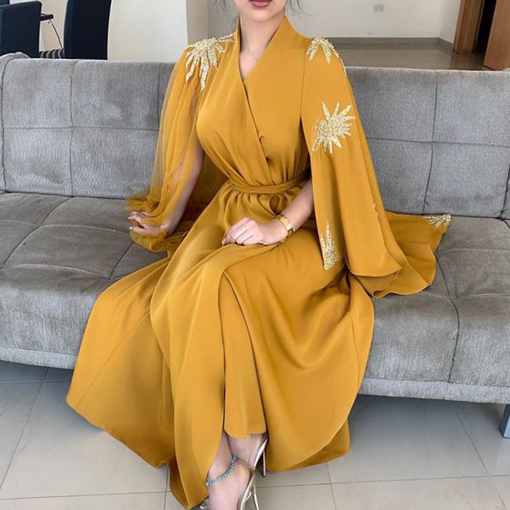 Yellow Prom Dresses 2020 V Neck Long Sleeve Satin Front Slit A Line Satin Evening Dresses Formal Dresses