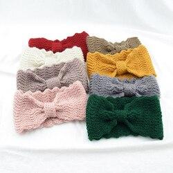 Ocieplacz na zimę ucha dzianiny Hairband łuk fale elastyczne nakrycie głowy dla kobiet dziewczyn jednolity kolor Turban pasma włosów głowy Warp pałąk