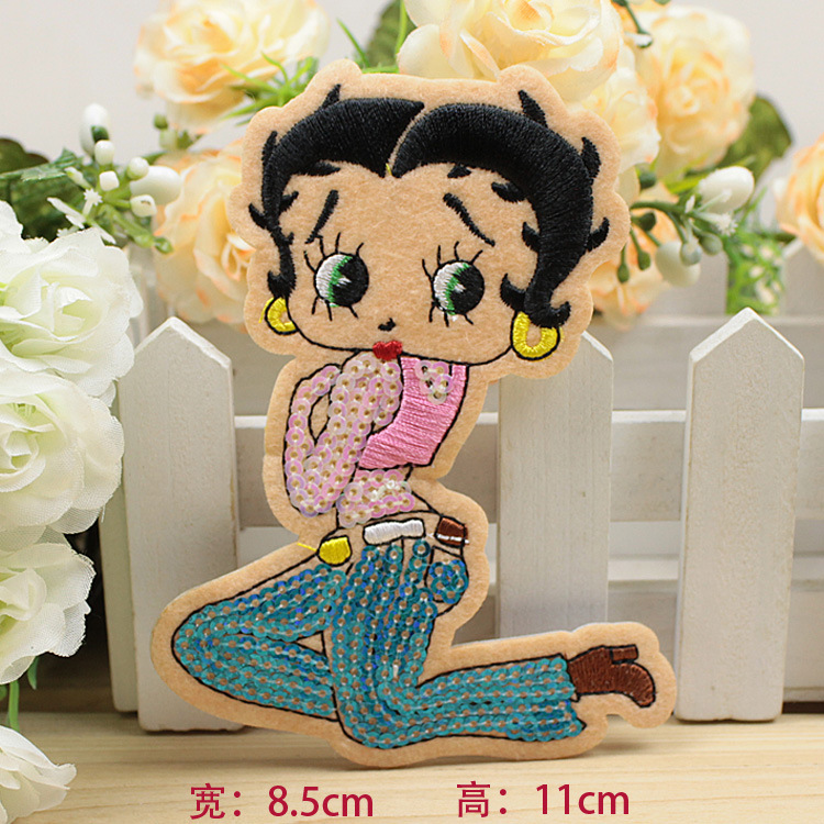 Animation Cartoon Fashion Girl Sequins Embroidery Accessories Back Tape Stickers