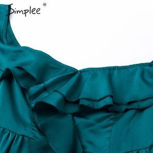 Image 5 - Simplee Sexy off schulter lange party kleid Abendkleid hohe taille kräuselte grün kleid Damen herbst winter chic vent satin kleid